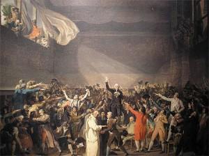 Le serment du jeu de paumes, sous l'égide de Bailly. les député du Tiers état font la promesse d'une constitution nouvelle.